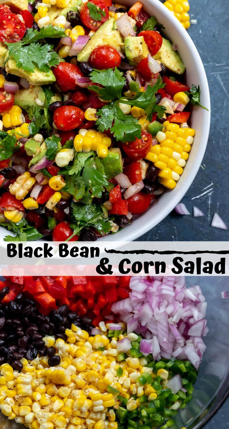 black bean and corn salad recipe photo collage