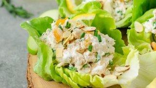 Lemon Tarragon Chicken Salad Lettuce Wraps