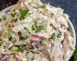 chicken salad in white bowl