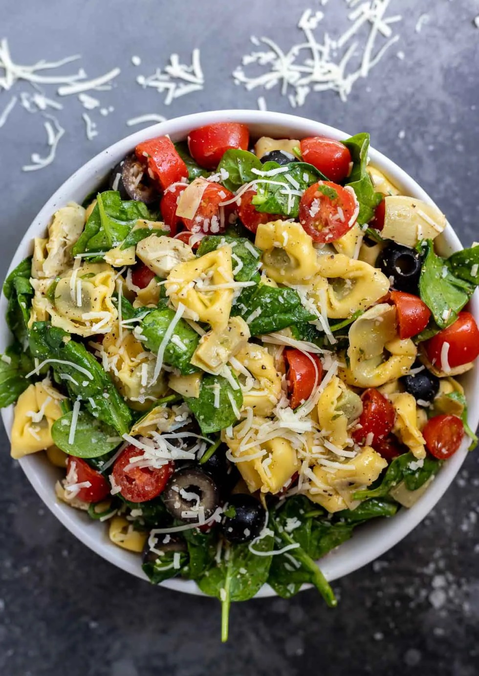 Italian tortellini salad in white bowl