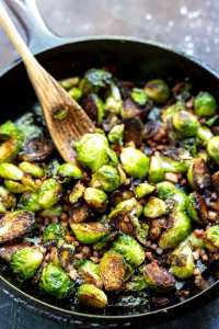brussels sprouts in cast iron pan with pancetta