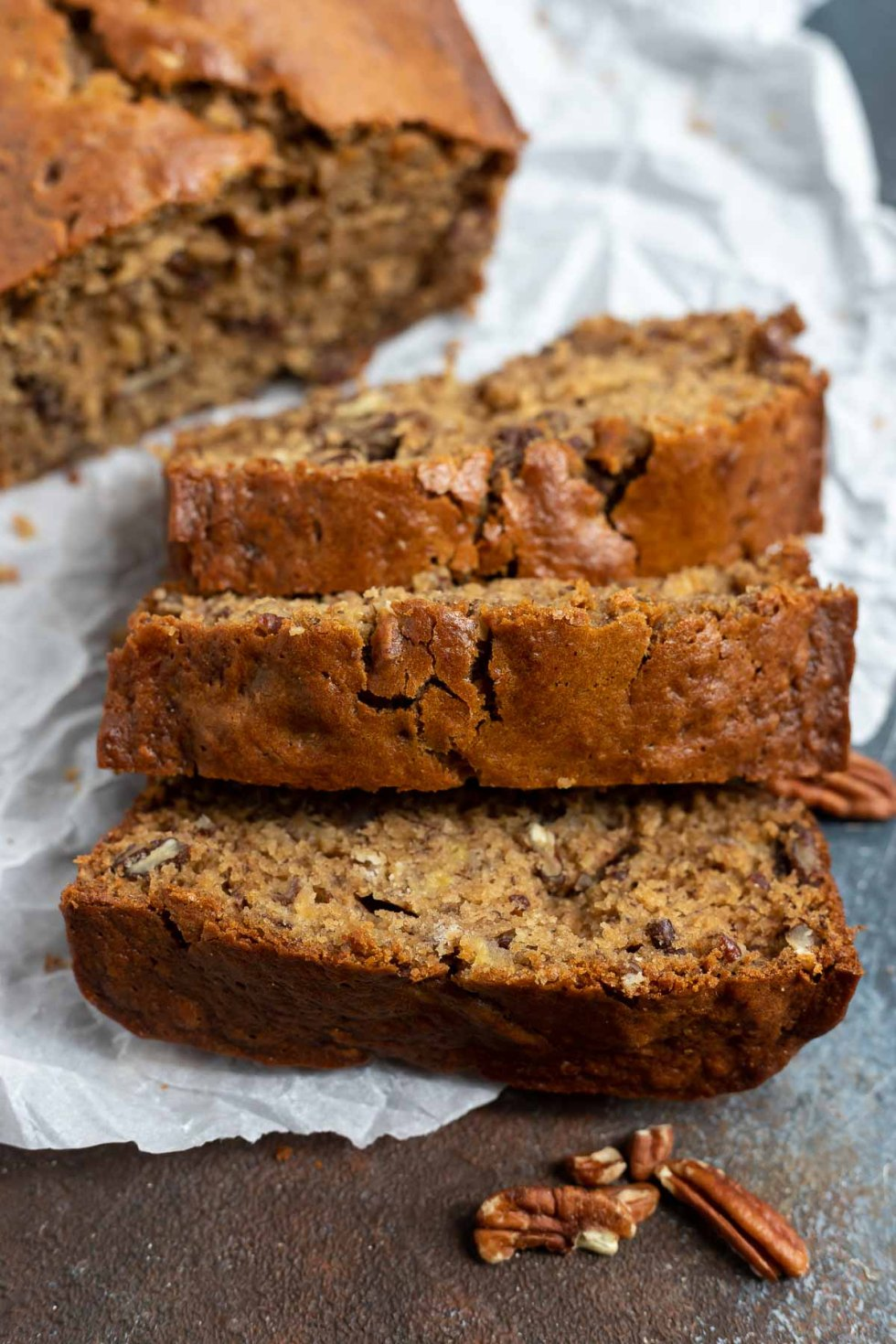slices of baked banana bread