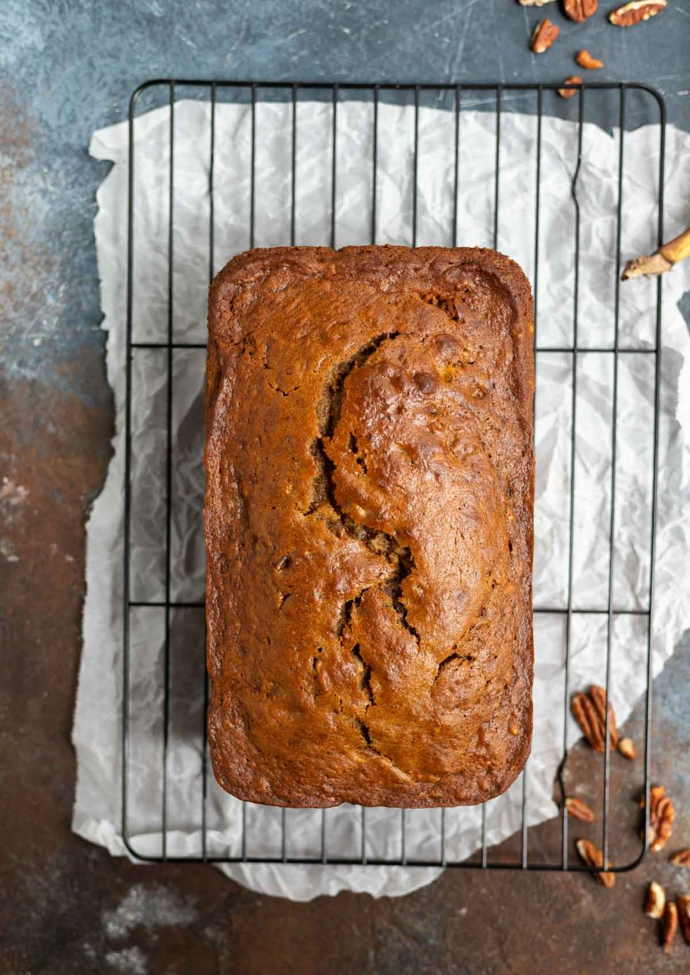 fresh baked banana bread on cooling rack