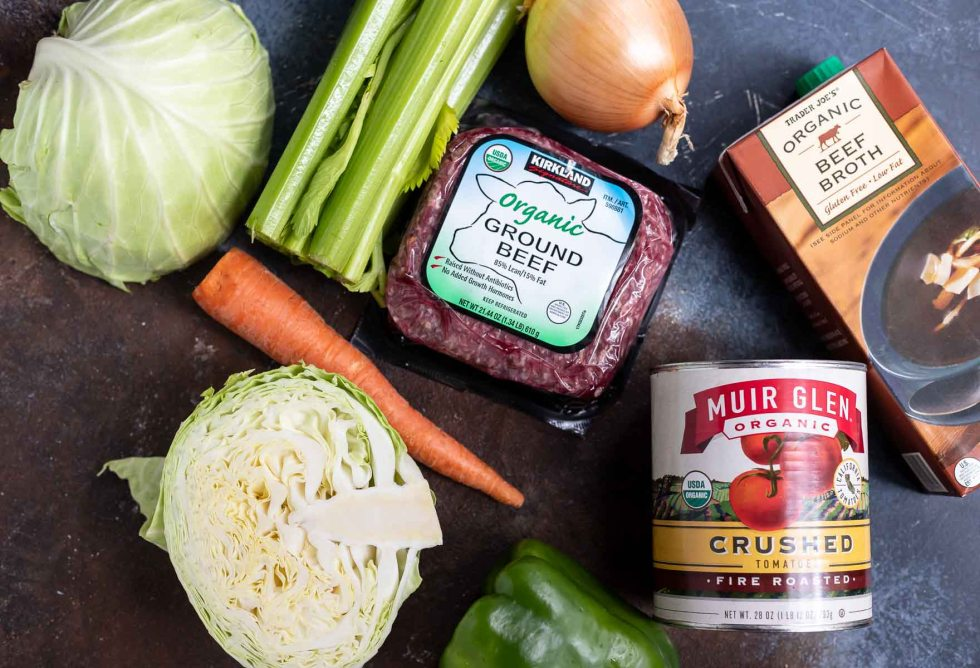 ingredients for Keto beef cabbage soup