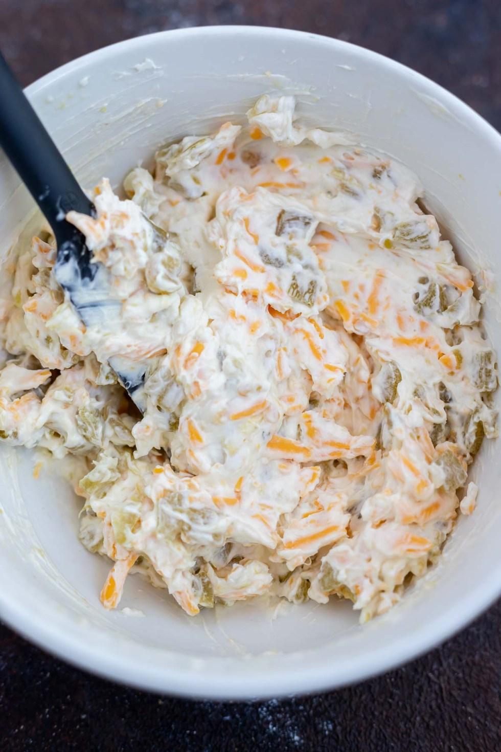 cream cheese mixture in white bowl