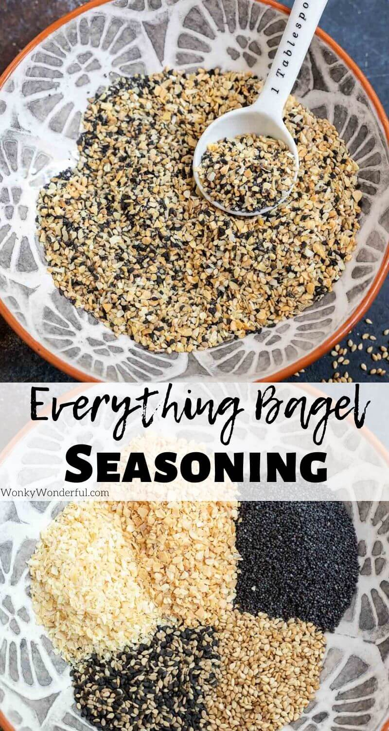 everything bagel seasoning pinnable photo collage with recipe title text