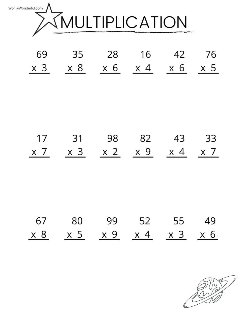 FREE PRINTABLE MULTIPLICATION WORKSHEETS + WonkyWonderful