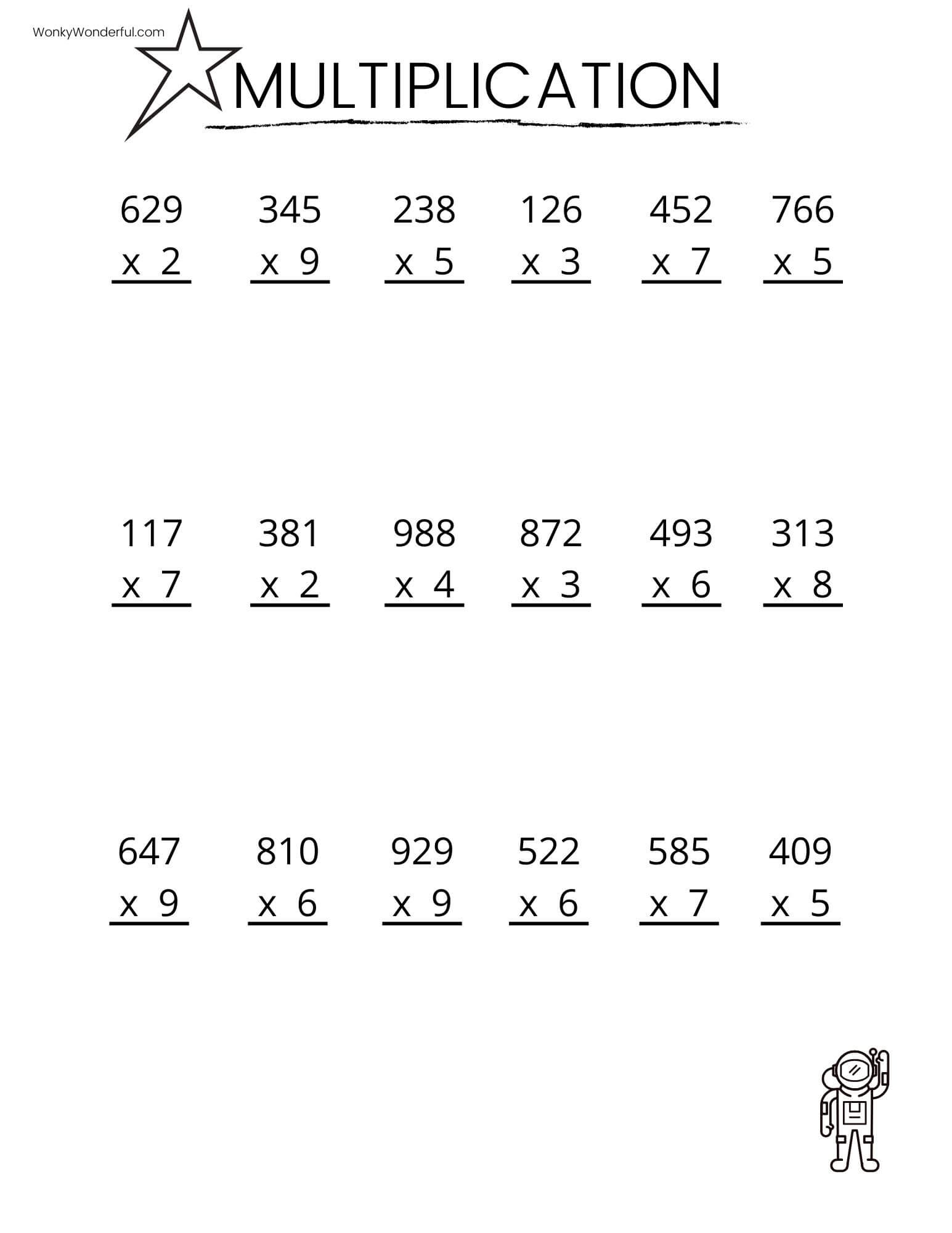 FREE PRINTABLE MULTIPLICATION WORKSHEETS + WonkyWonderful [ 1269 x 980 Pixel ]