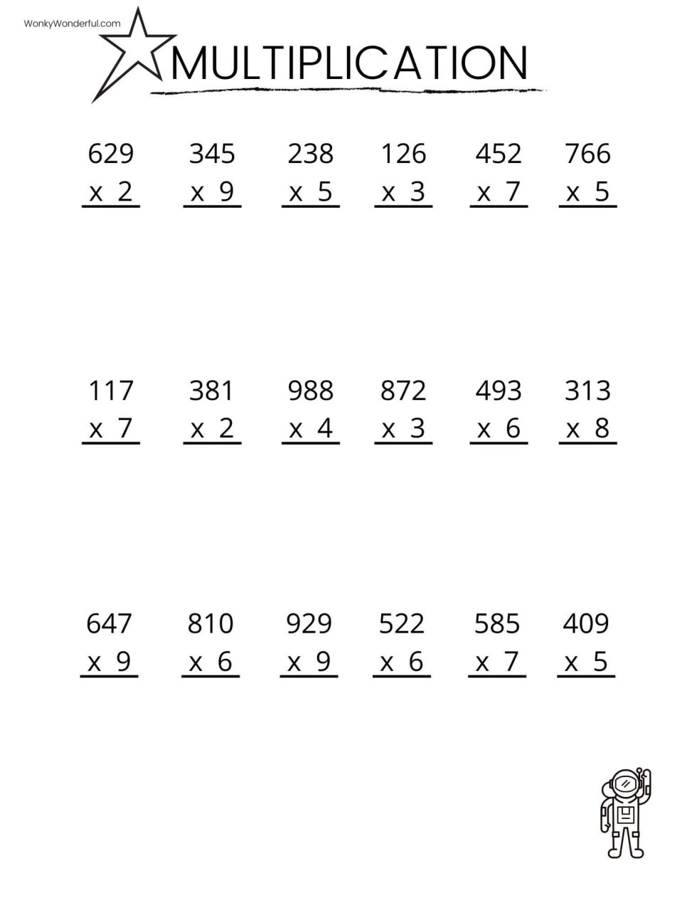 3rd multiplication worksheet