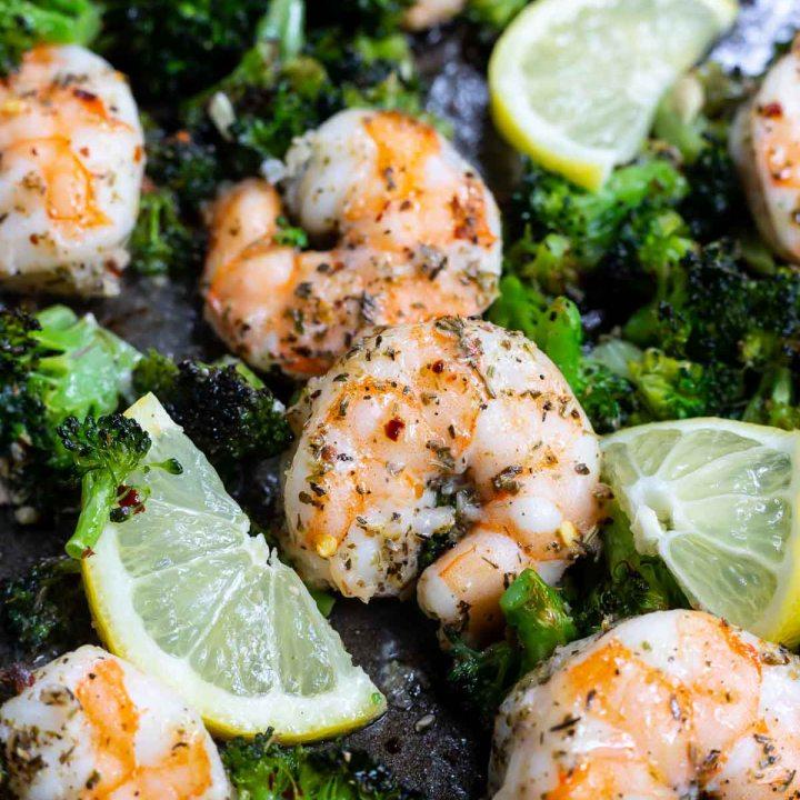 cooked shrimp, lemon and broccoli