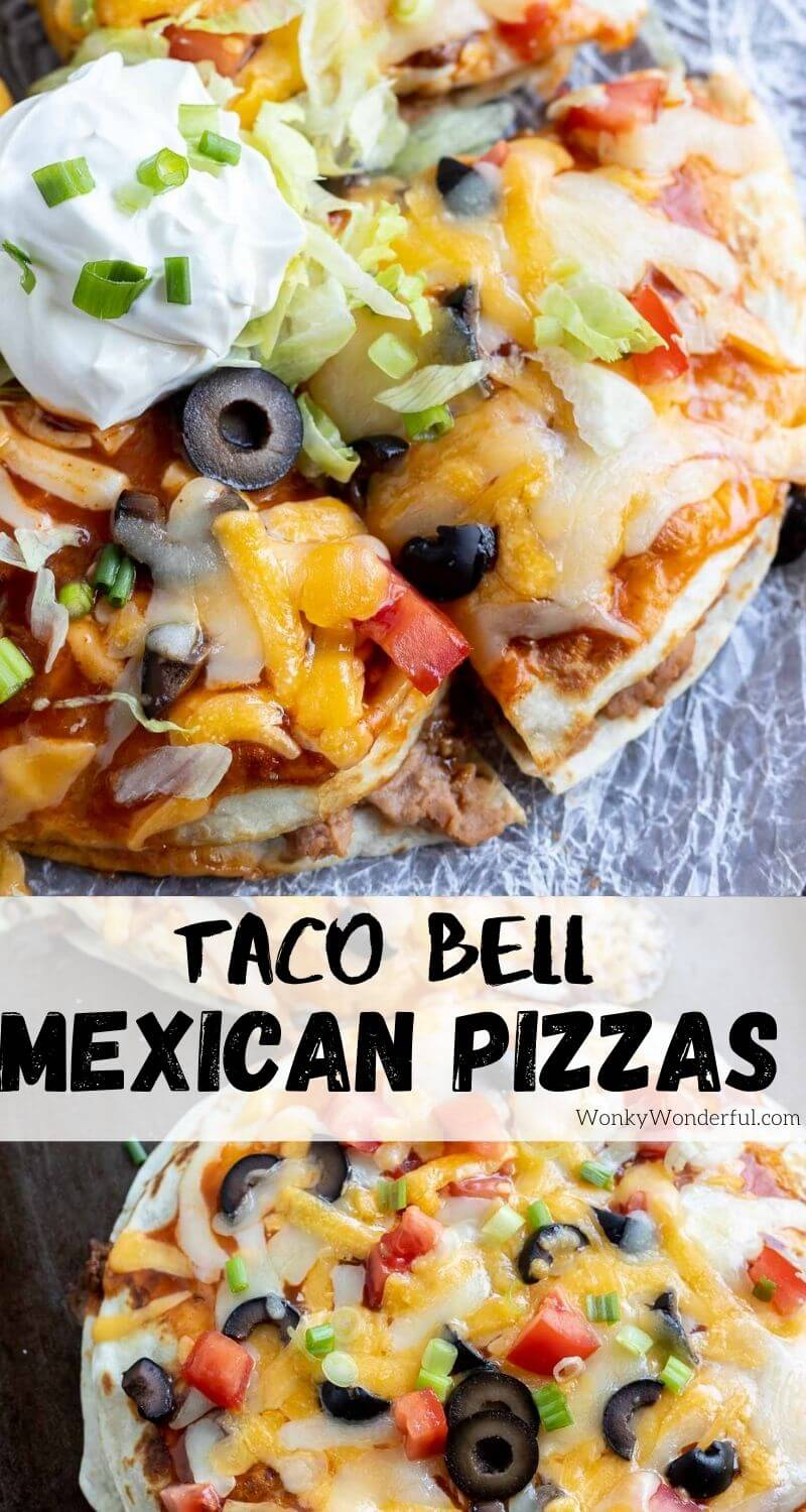 Mexican pizza recipe pinnable image with title text