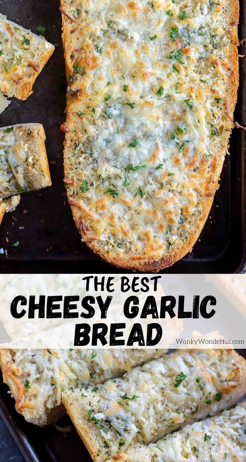 homemade garlic cheese bread pinnable image with title text