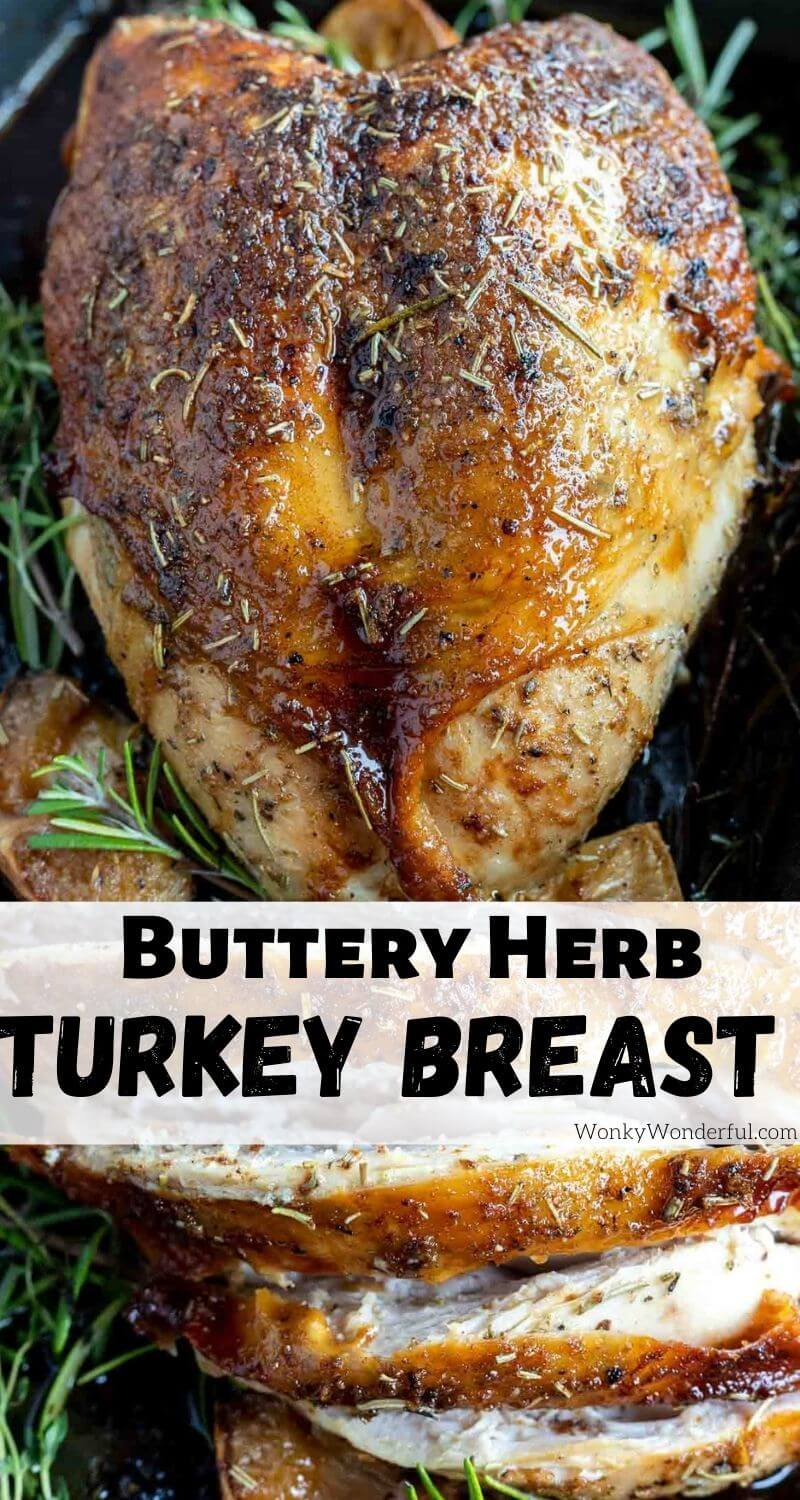 oven roasted turkey breast recipe pinnable image with title