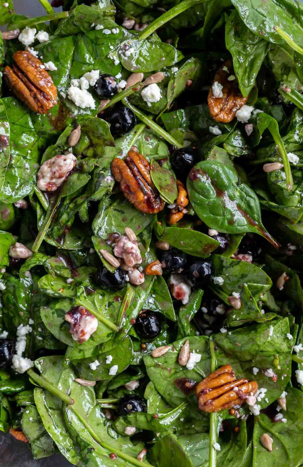 prepared salad with spinach, blueberries, pecans and cheese crumbles