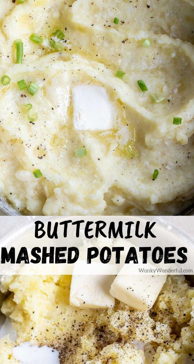buttermilk mashed potatoes pinnable image with title text