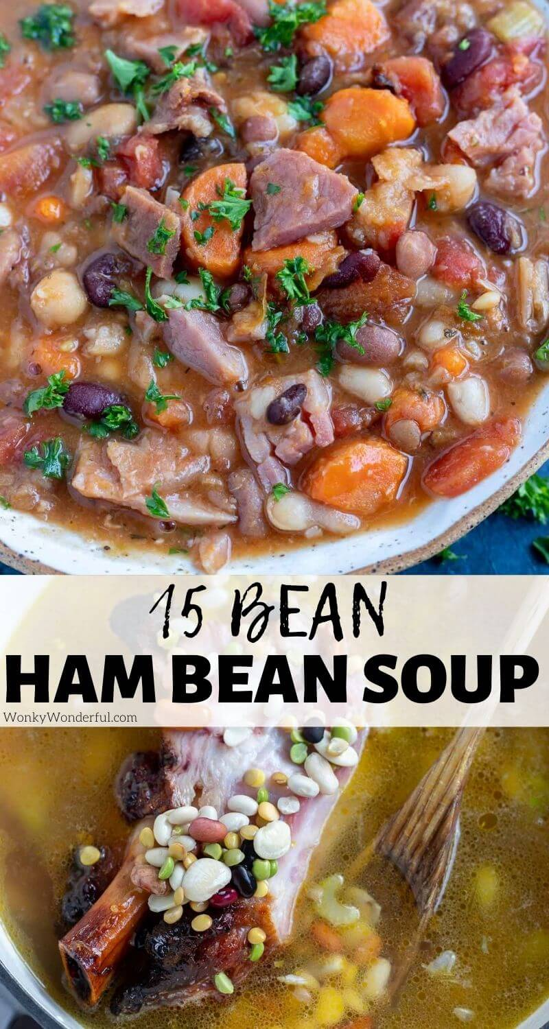 ham 15 bean soup recipe pinnable image with title text