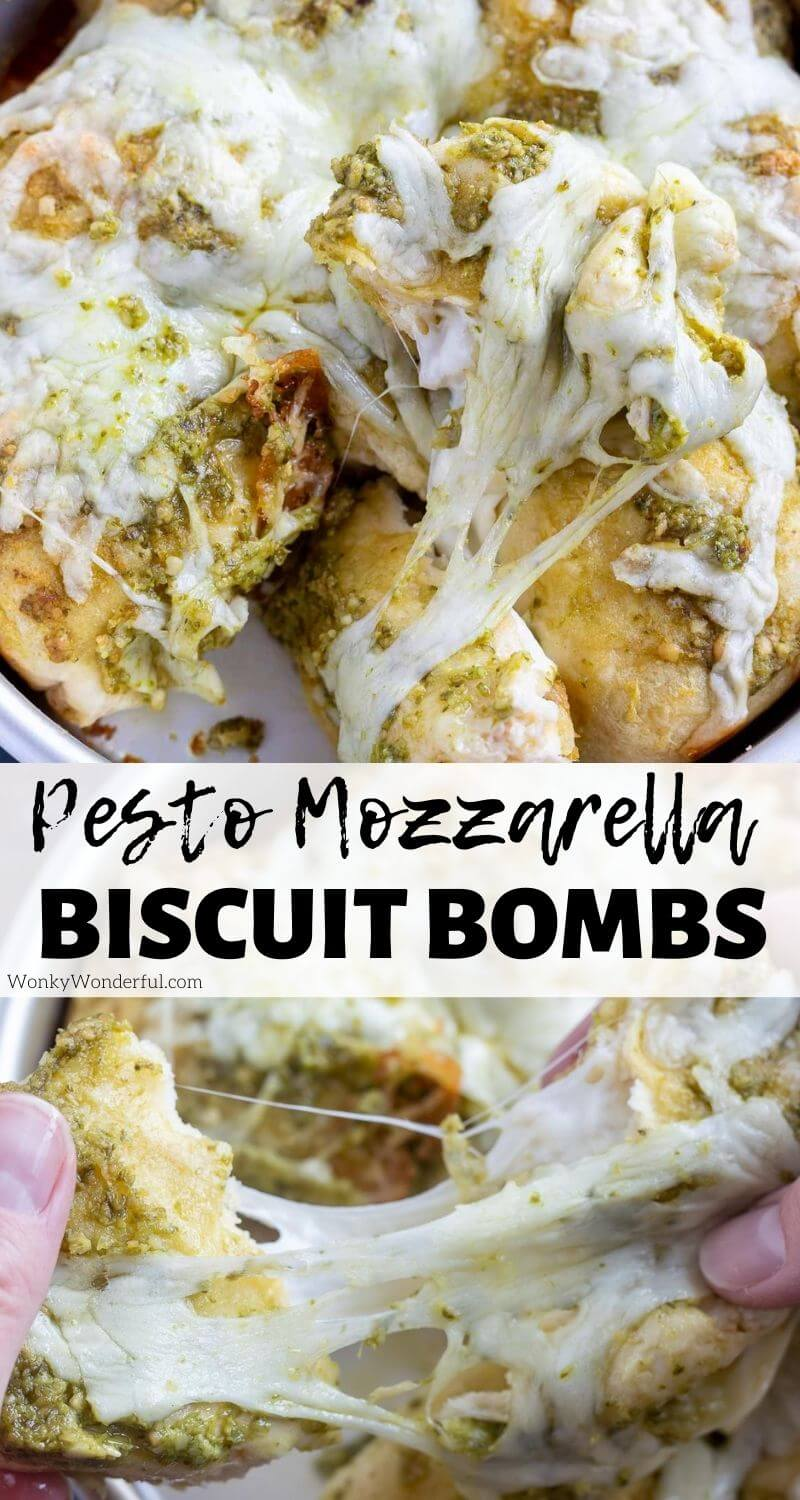 Pesto Mozzarella Cheese Bombs are a simple side dish, appetizer or snack. Canned biscuits stuffed with mozzarella then topped with pesto and more cheese. These pull-apart cheese stuffed biscuits will be a favorite! #cheesebombs #stuffedbiscuits #sidedishrecipes #cheesebiscuits #pestorecipes #appetizerrecipes