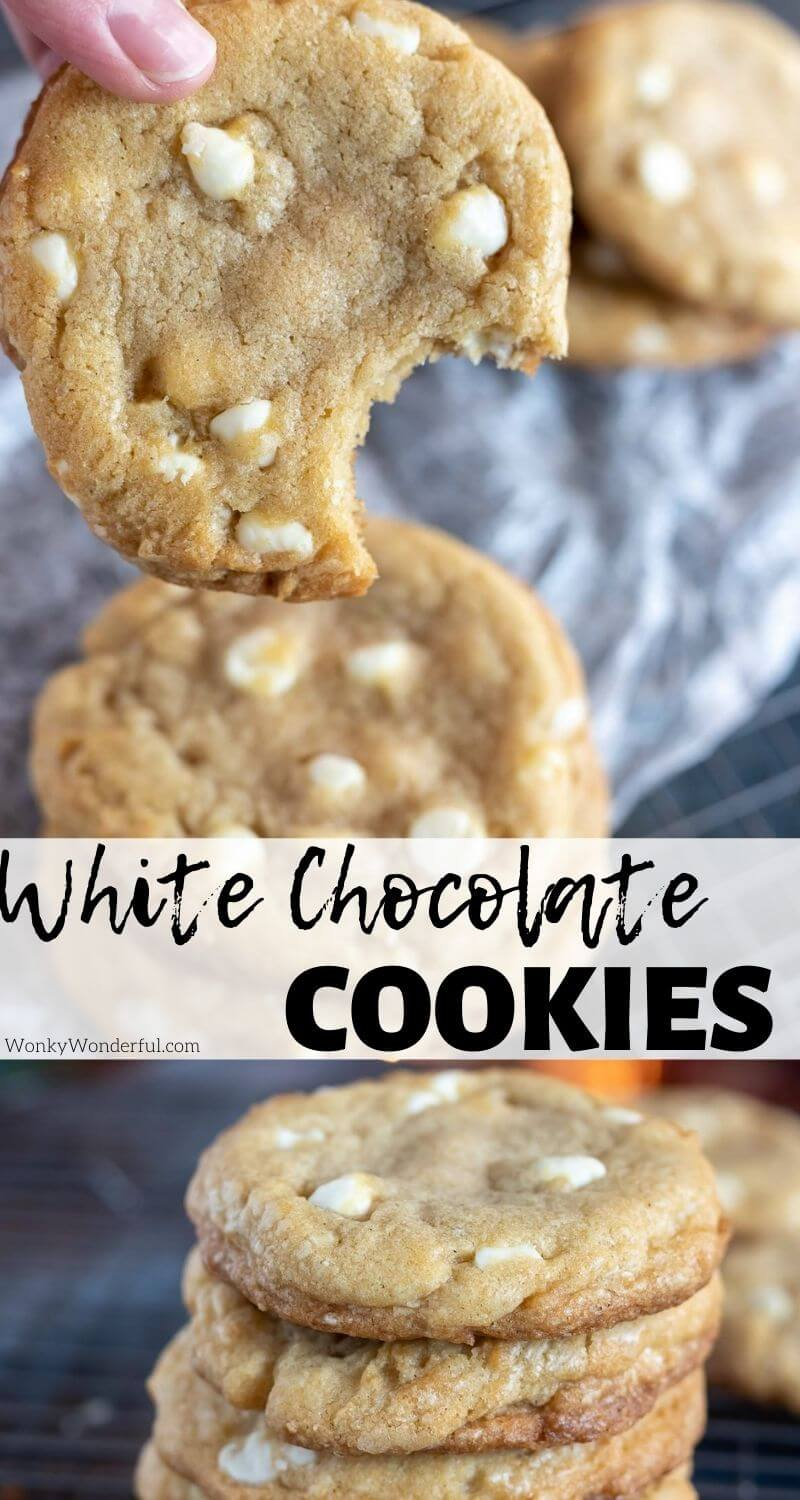 white chocolate chip cookie recipe pinnable image with title text