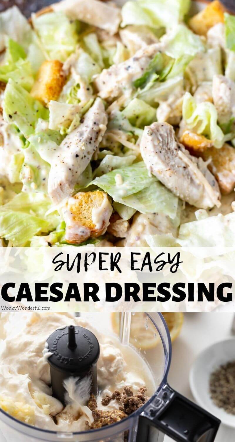 homemade caesar dressing pinnable image with title text