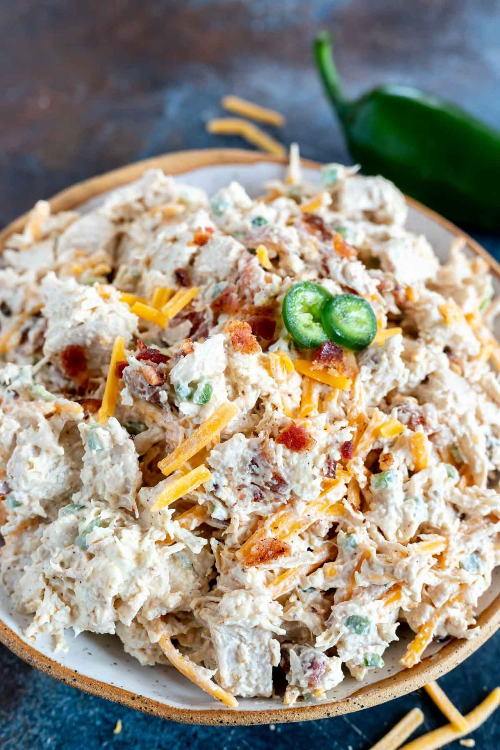 prepped chicken salad served in bowl