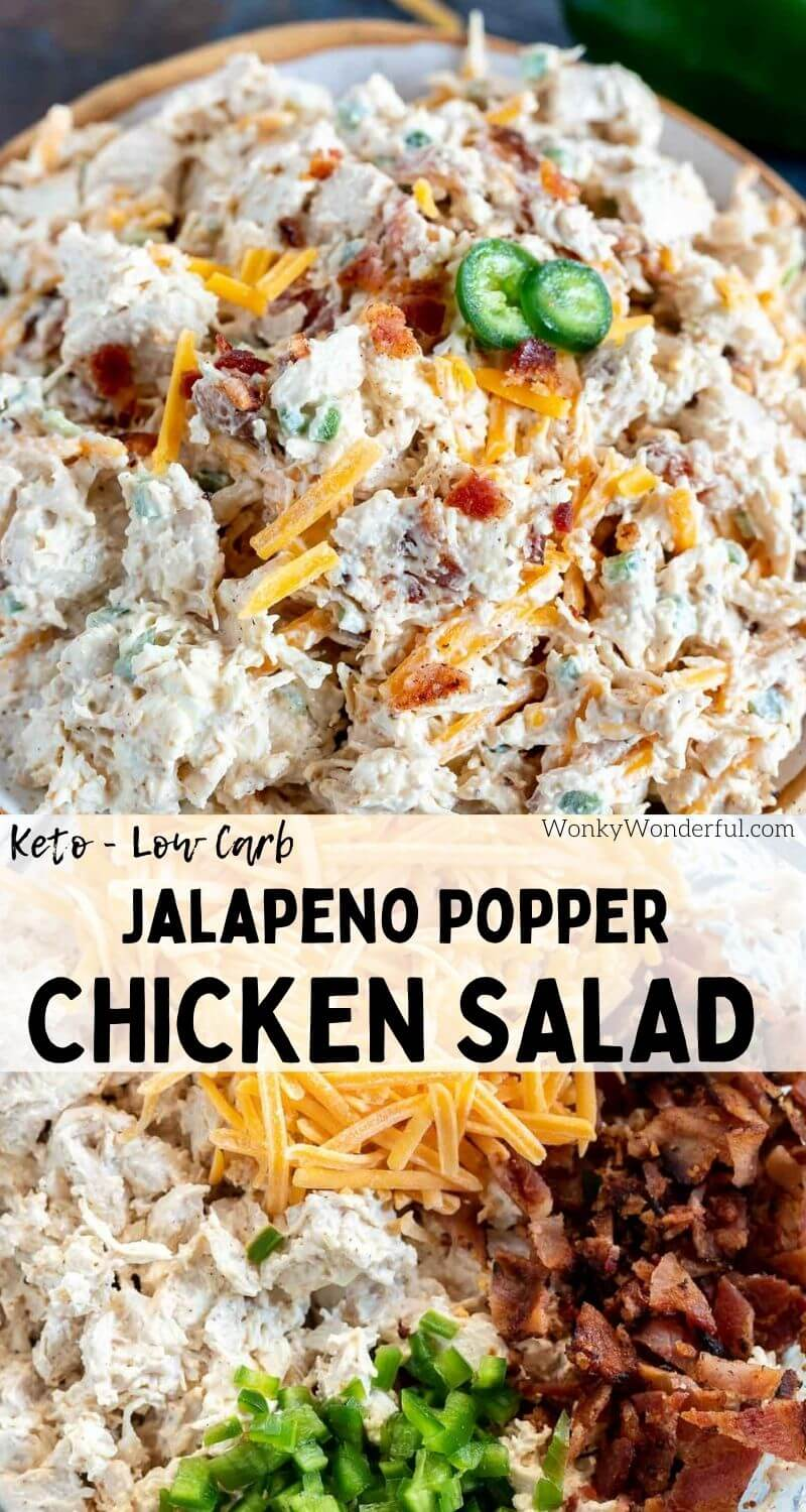 jalapeno popper chicken salad pinnable image with title text