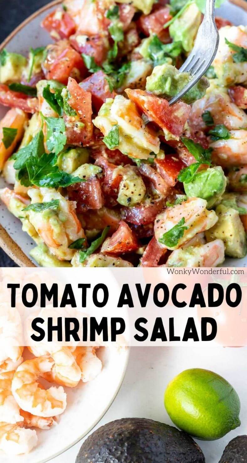 avocado shrimp salad pinnable image with title text