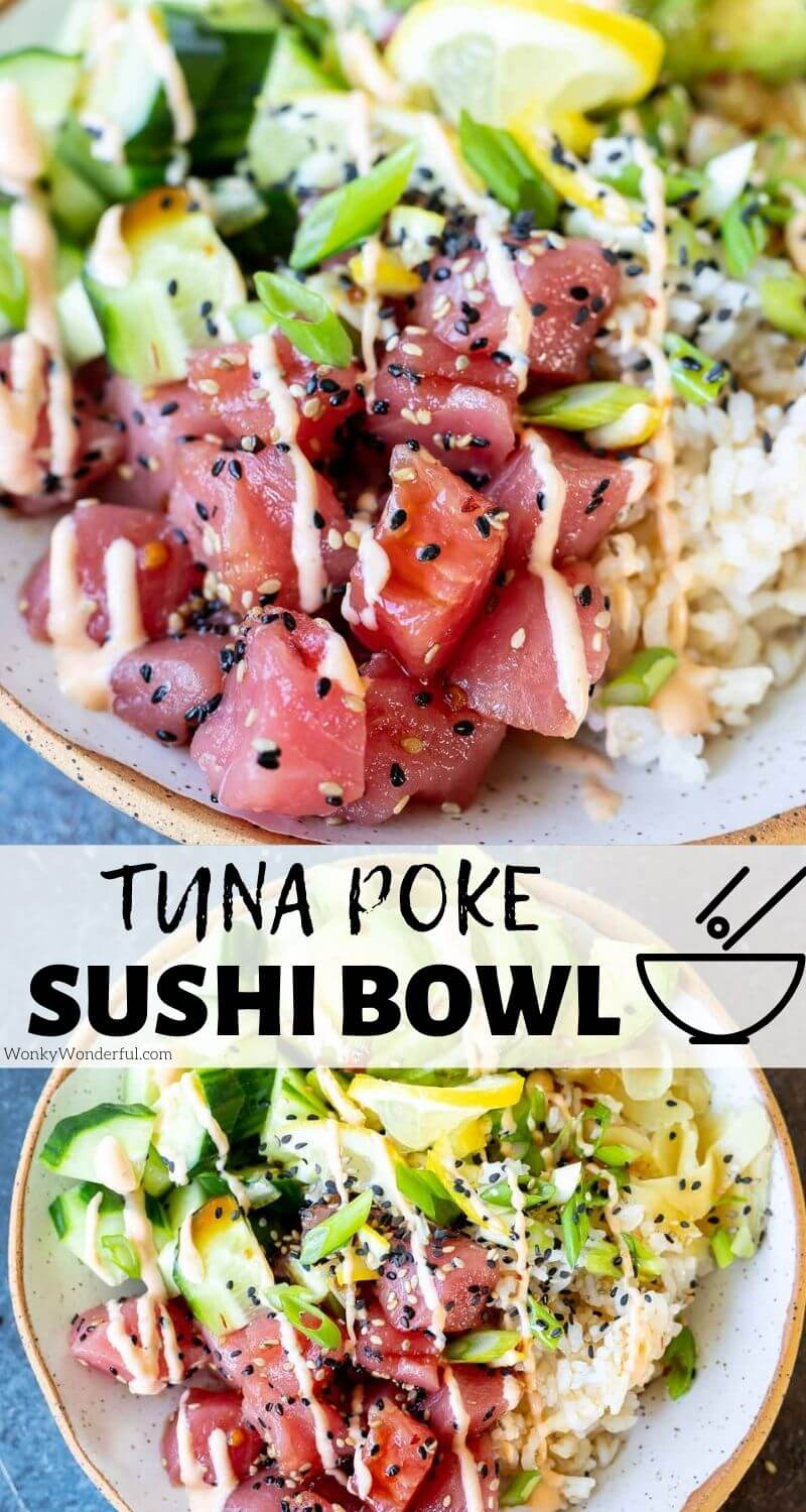 tuna poke bowl pinnable image with title text