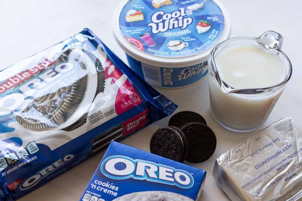ingredients for no bake Oreo dessert