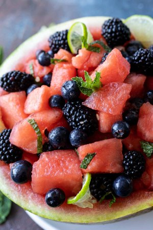 watermelon berry salad in hollowed out watermelon rind