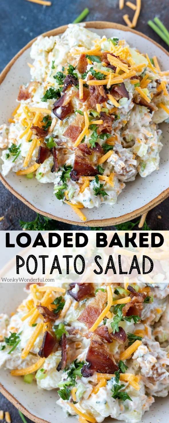 baked potato salad pinnable image with title text