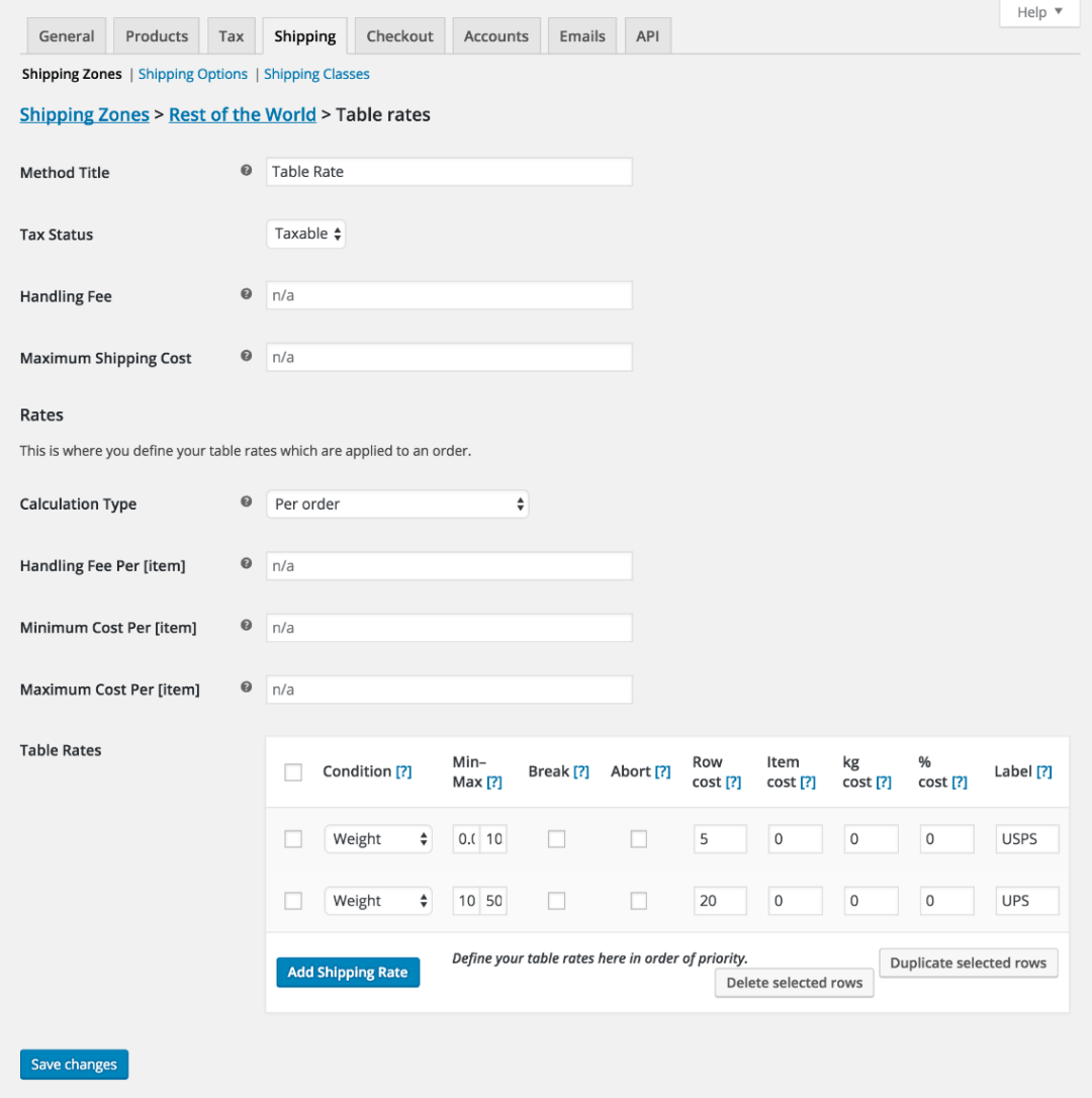 Table rate shipping settings