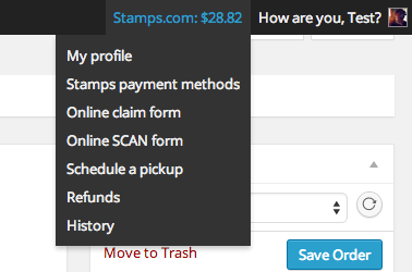 Monitor your Stamps.com account from within the WooCommerce admin.