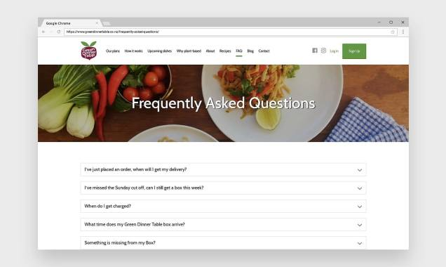 screenshot of Green Dinner Table's FAQ page showing accordion questions