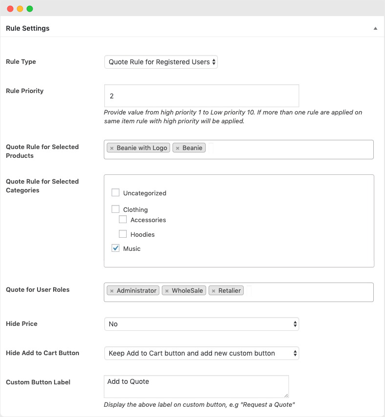 Enable Quote Button for Specific Products and User Roles