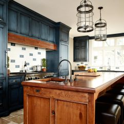 Navy Kitchen Cabinets Backslash For Reclaimed Wood Countertops Countertop Butcherblock