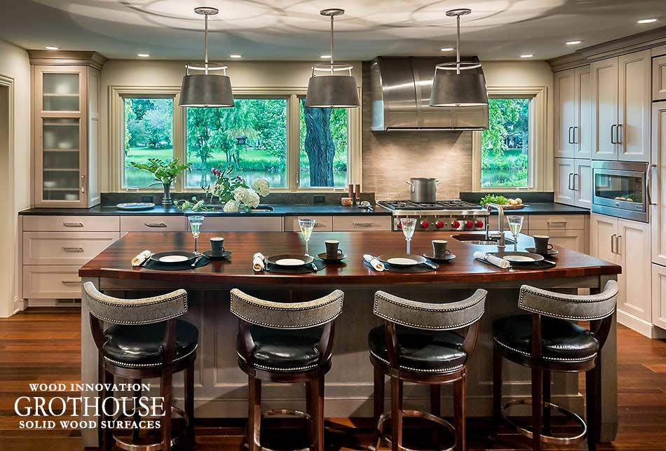 kitchen island with bar sink and stove top ideas grothouse wood surfaces blog
