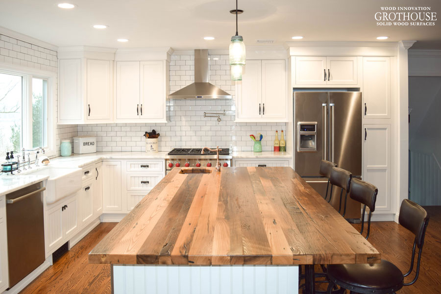 wood countertops kitchen round glass tables reclaimed countertop butcherblock and bar mmodern farmhouse with a chestnut designed by coastal cabinet works
