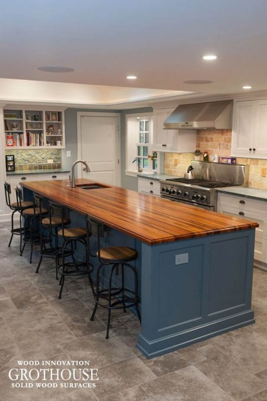Blue Kitchen Island With Tigerwood Countertop For A White