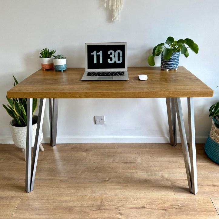 Solid oak desk box hairpin legs