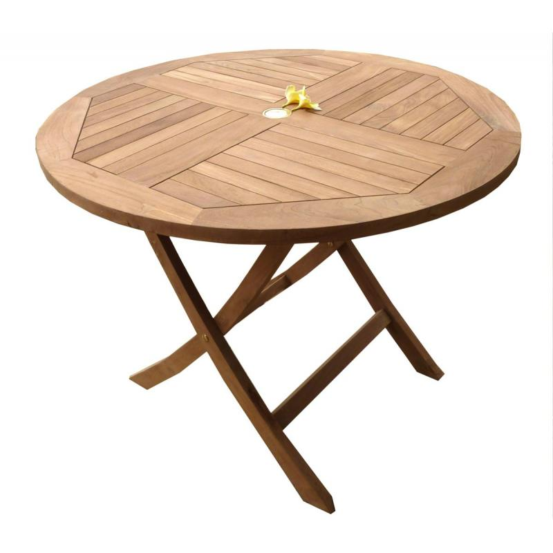 Table de jardin plainte en teck brut  table ronde en teck diametre 100 cm  mobiler de jardin