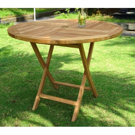 table de jardin pliante en teck brut diametre 100 cm