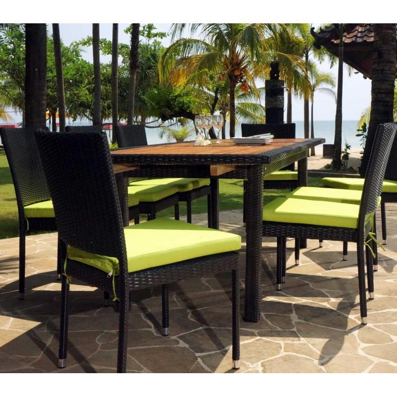 Mobilier de jardin en teck et resine tressee  ensemble de jardin 10 chaises en resine