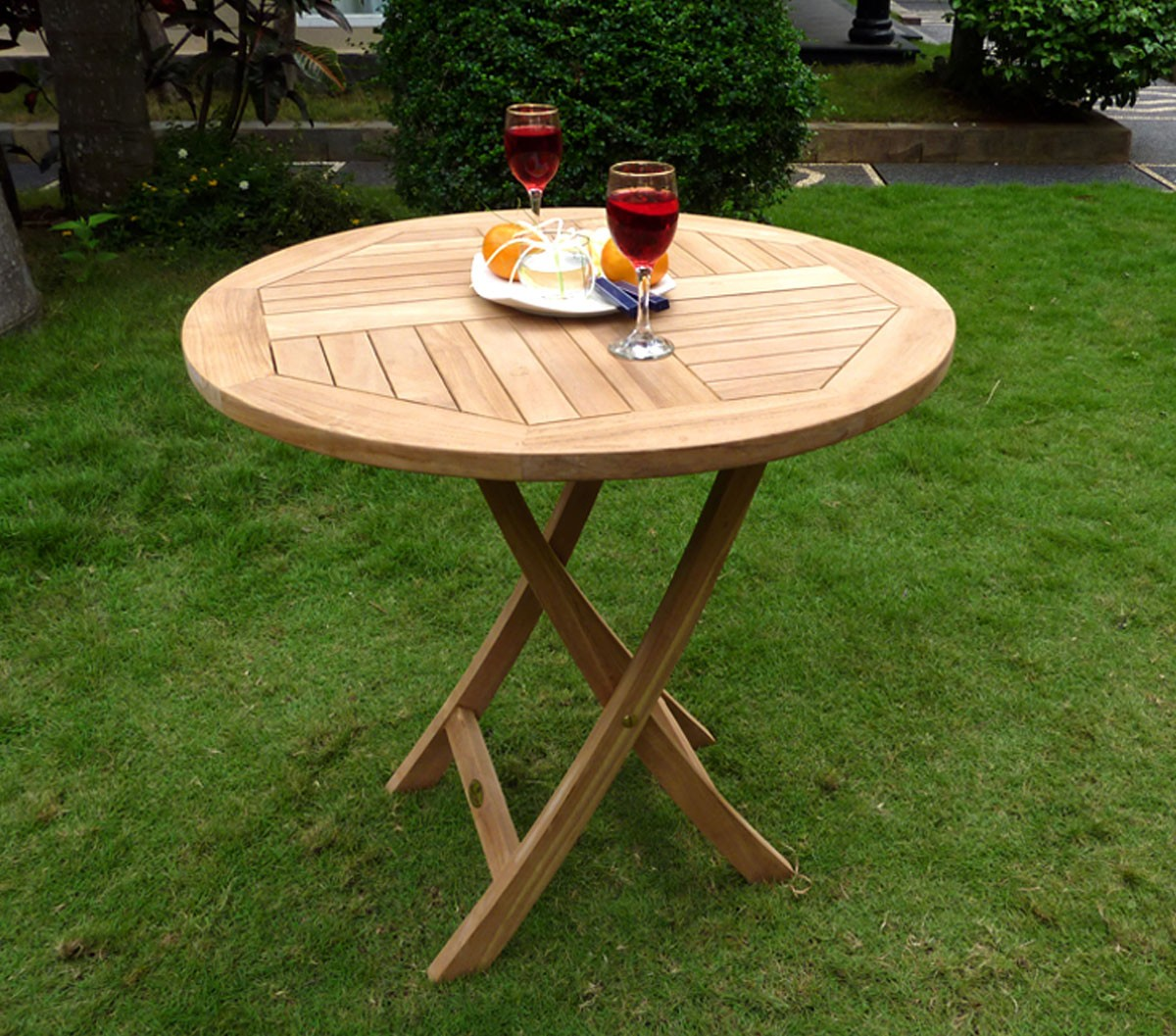 Table De Jardin Teck Pliante Table De Jardin Pliante En Teck Brut Diametre 70 Cm