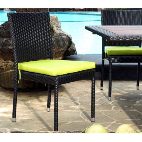 chaise de jardin en resine tressee avec coussin