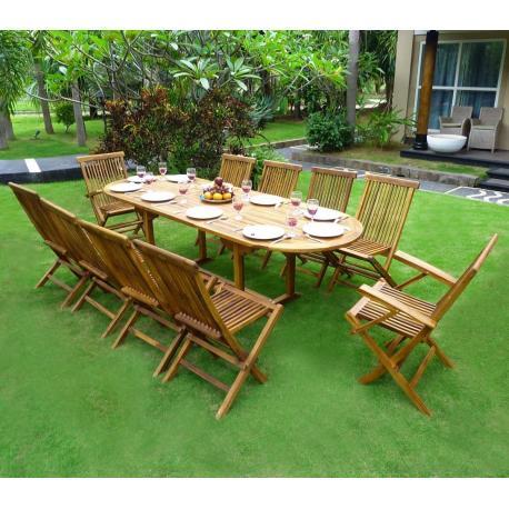 salon de jardin en teck 10 places ovale huile en solde