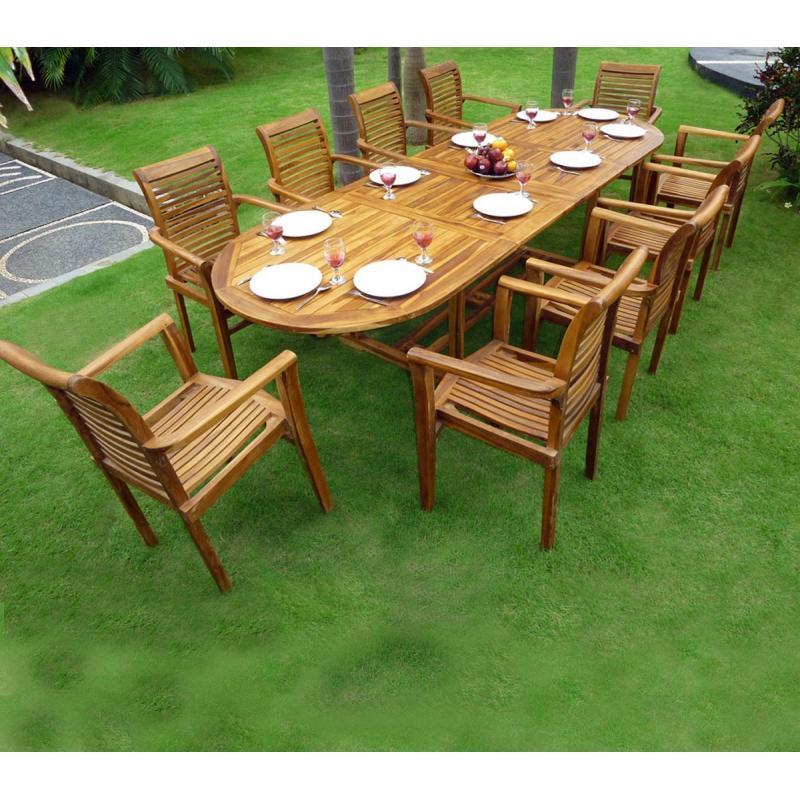 Ensemble salon de jardin en teck en promotion  table  10 fauteuils en teck Raja