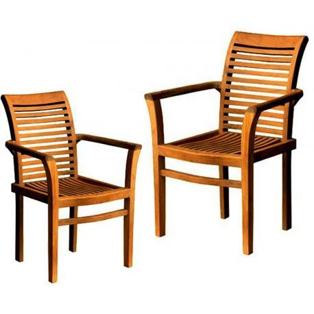 lot de 2 fauteuils de jardin empilables teck huile raja