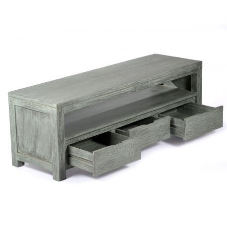meuble tv en teck massif 145 cm x 45 x 50 cm abey