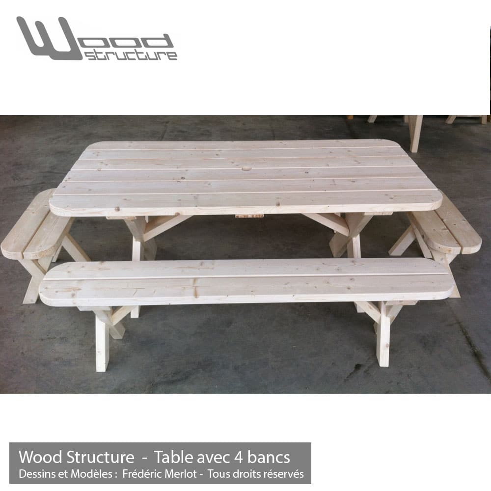 Table Piquenique Banc  Table De Jardin  Wood Structure