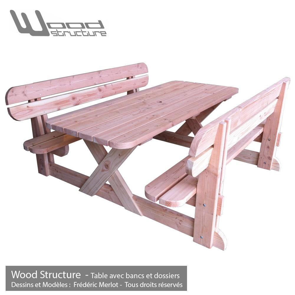 table avec bancs et dossiers